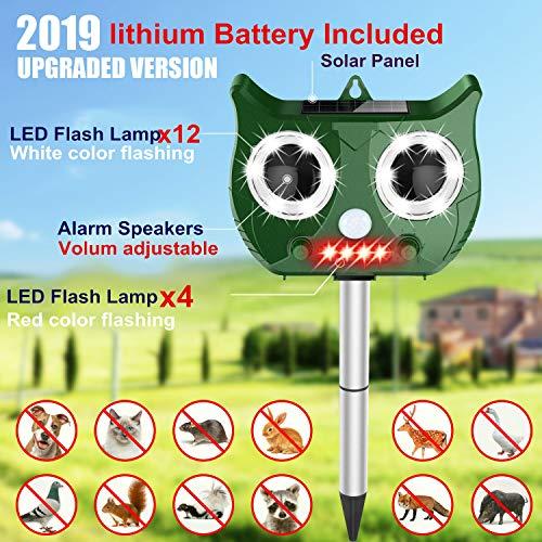 2020 ultrasonidos nuevo solar repelente de animales Incluir 1500mAh batería de litio, a prueba de agua repelente de plagas de la serpiente del gato del perro disipador Bird ( Color : Green Color )