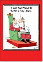 Kids Off the LawnクリスマスFunny Greeting Card 12 Christmas Card Pack (SKU:B5792)