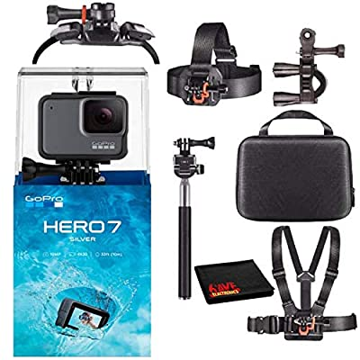 GoPro HERO7 Hero 7 Waterproof Digital Action Camera with Action Kit Accessories Body Bundle (Silver) by GoPro