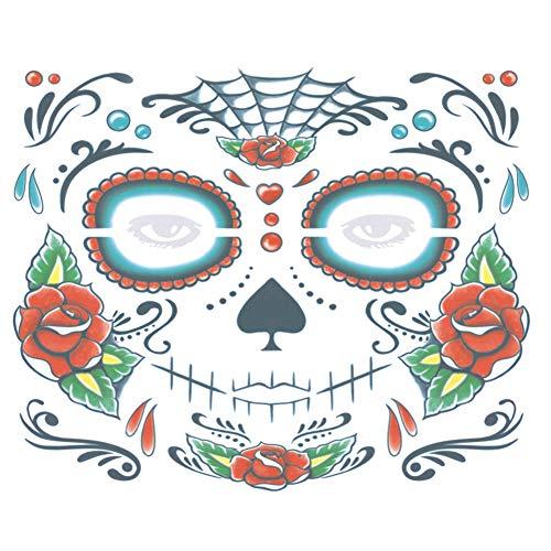 Leisial Halloween Pegatina Tatuaje Impermeable Pegatina de Cara para Decoracion Fiesta de Baile Accesorios de Maquillaje para Mujer Niñas
