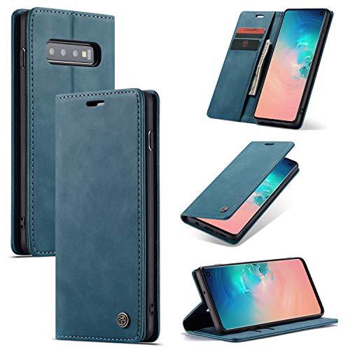 AKC Cover Compatibile per Samsung Galaxy S10 5G Custodia Pelle Portafoglio con Supporto Flip Magnetica Caso Anti-Slip Flip Pieghevole-Blu