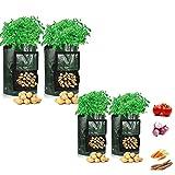 Gmjay Bolsas de Cultivo de Patatas Bolsas de Cultivo de Plantas Jardinera de Hortalizas Reutilizable con Asas Solapa de Acceso,4pcs,10 UK GAL