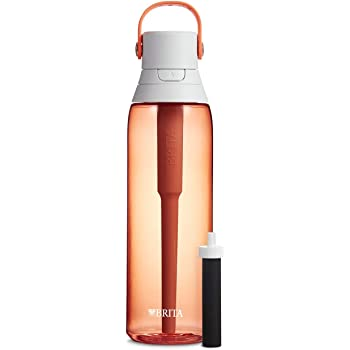 Brita 26 Ounce Premium Filtering Water Bottle with Filter Coral BPA Free