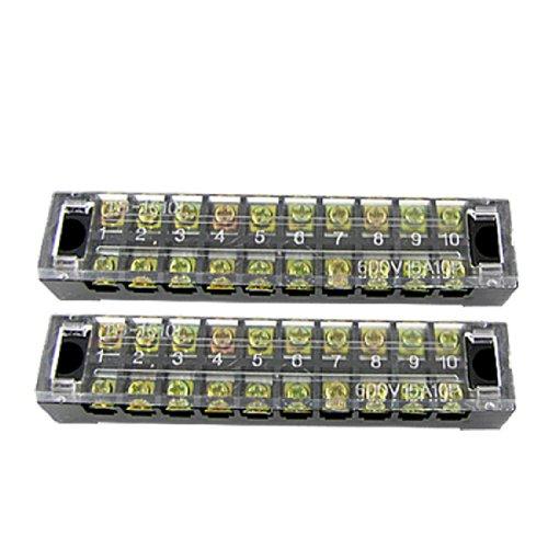 Sourcingmap a10091500ux0009600V 15A 10Position Schraube Terminal Strip Barrier Block–Mehrfarbige (2-teilig) de