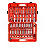 TEKTON 1/2 Inch Drive 6-Point Socket & Ratchet Set, 84-Piece (3/8 - 1-5/16 in., 10-32 mm) | SKT25302