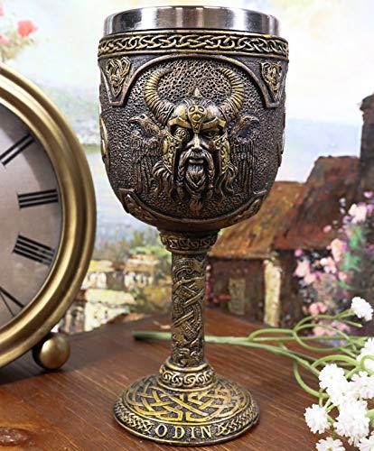 Ebros Gift Norse Mythology Viking Alfather Odin God Of Asgard 7oz Resin Wine Goblet Chalice With Stainless Steel Liner Asgardian Ruler Thor Loki Sleipnir Celtic Knotwork Base