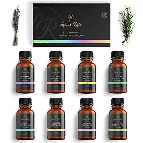 Luana Rose - Ätherische Öle Set - 100{d4d22c5c73b98403eb396b73b7998a600a919c8cd70bad52846ebbf956dea871} Vegan & Naturrein - 8x Aroma Diffuser Öl für Aromatherapie - Reine Duftöle Geschenk Set für Luftbefeuchter - Vanille - Rose - Lavendel - Eukalyptus und mehr