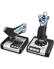 Logitech G Saitek X52 Uçuş Kontrol Sistemi, Omuz Kayışı ve Uzay Simülasyonları için Çubuk Uçuş Simülasyonu Kontrolü, LCD Ekran, Işıklı Tuşlar, 2 x USB Bağlantısı, PC - Siyah/Gümüş