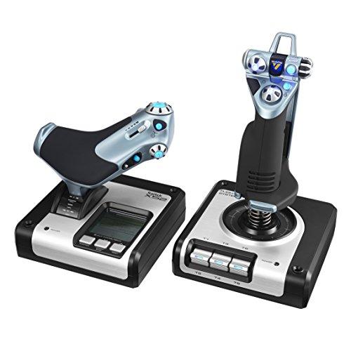 Logitech G Saitek X52 Pro Flight Palanca y Acelerador de Simulación, Pantalla LCD, Mecanismo de Centrado Mediante Resorte, Botones con Iluminación, USB - Blanco