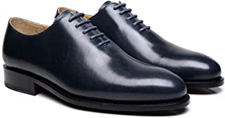 Costoso Italiano Navy Blue Leather Formal Wholecut Lace Up Oxford Goodyear Welted Shoes for Men