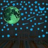 109 Pegatinas Fluorescentes Luna+Estrellas, Decorativas Pegatinas Luna Estrellas, Luminosas Pegatinas de Pared para Techo/Habitación Niños. (Luna Verde+Estrellas Azul)