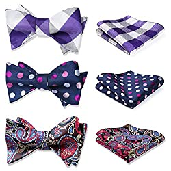 in budget affordable Mixed Design and Mixed Pocket Square HISDERN Classic Men's Bowtie – Several Sets
