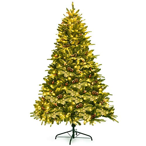 Goplus 6.5FT Snow Flocked Christmas Tree, Pre-Lit Artificial Snowy Tree with Foldable Metal Stand, 450 LED Lights, Xmas Full Tree for Indoor Decoration
