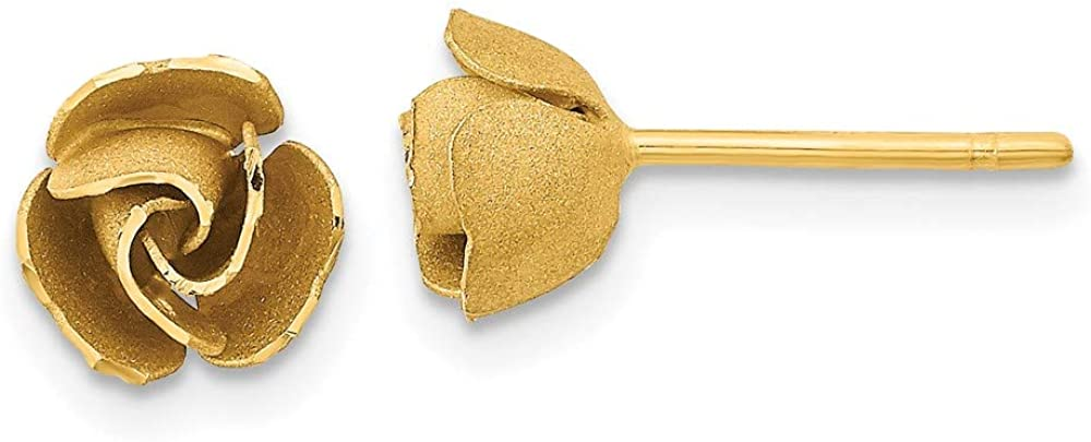 14k New mail order Yellow Gold Satin High quality Finish Diamond-Cut Rose Earrings Post