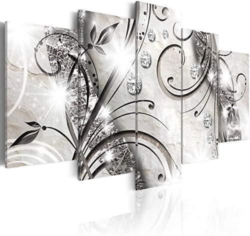 SSOOB Home Art lienzo pared arte impresiones mural Planta abstracta floral de flores blanco y negro 100x50 CM 5 lienzos Modern Canvas Wall Art 5 Piezas Pictures HD Impreso Cartel de Pintura para Sala