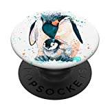 Cute Penguin Watercolor Design Gift Penguins Lovers on White PopSockets PopGrip: Swappable Grip for Phones & Tablets
