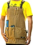 WirtaWork Woodworking Aprons for men and women - Durable Tool Apron with 11 pockets and 2 hammer loops - Comfortable 16oz Waxed Canvas Work Apron protects you from water to sparks. Best Shop Apron 4 U