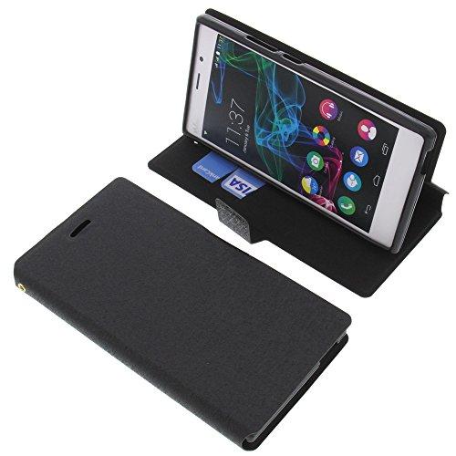 foto-kontor Tasche für Wiko Ridge 4G Book Style schwarz Schutz Hülle Buch