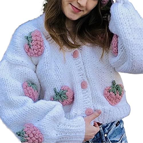 FeMereina Mujeres Corto Cardigan Suéteres Dulce Patrón 3D Frente Abierto Punto Crochet Chunky Mangas Largas Chaquetas Y2K Casual Outwear, Rosa Blanca, Talla única