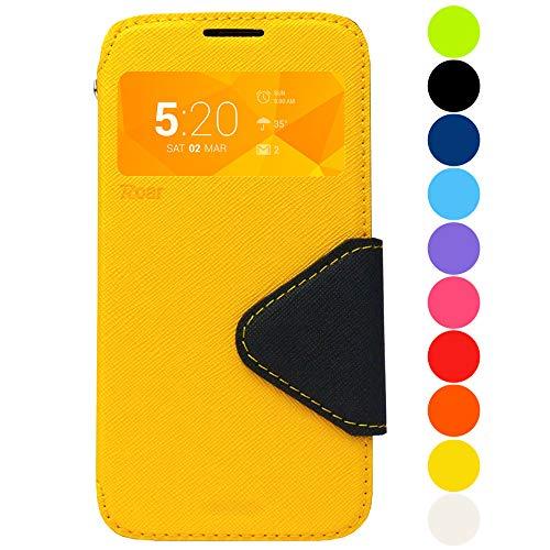 Roar Premium Hülle für Sony Xperia Z1 Compact Handyhülle, Flip Hülle Schutzhülle Tasche Hülle für Sony Xperia Z1 Compact, Klapphülle mit Fenster in Gelb