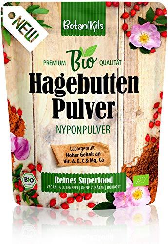 Bio Hagebuttenpulver 1kg Für die normale Immunsystemfunktion und Muskel- & Knochenfunktion. Reich an natürlichen Vit. C, E, A & Ca, Mg, 100% Superfood, BotaniKils - Laborgeprüft, vegan, glutenfrei