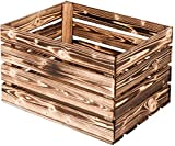 LAUBLUST Vintage Holzkiste Groß - Geflammt | Aufbewahrungskiste aus Holz - Geschenkkiste & Deko | ca. 50x40x30cm - XL