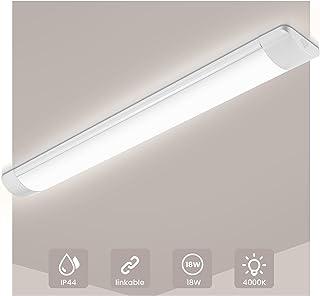 Neon Led, SOLMORE LED 60CM, Tube Led 18W 1500LM 4000K Blanc Neutre, Plafonnier LED Lampe D'atelier IP44 Etanche pour Garag...