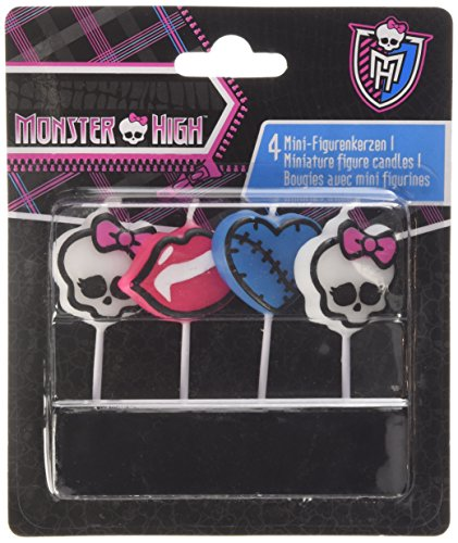 amscan - 552255 - 4 Bougies avec Mini Figurine Monster High