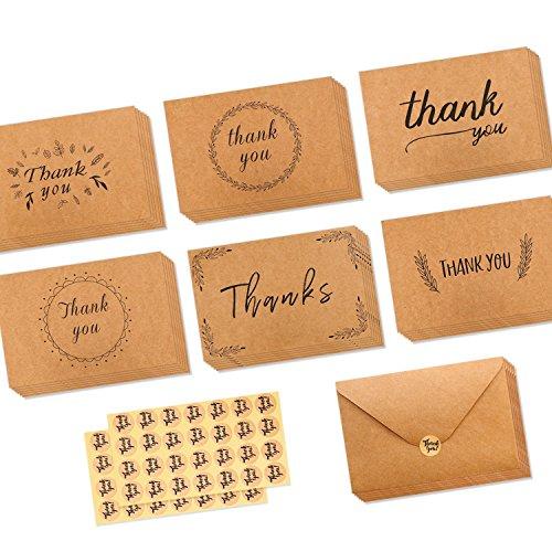 Ohuhu 36 Pack Brown Kraft Paper Thank You Cards Thank U Greeting Card W/ 36 Kraft Paper Envelopes for Wedding