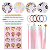 46 PZ Anself Nail Art Design Kit,15 pezzi Penne per Pittura nail Art+5 PZ Penne a Doppia Punte +10 Rotoli Nail Art Striping Tape Line Sticker+4 Scatole Strass+12 Vasetti Nail Art Foil Sticker Paper
