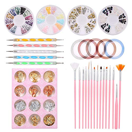 Anself 46-teiliges Nail Art Kit, 15 Nailart Brush Brush, 10 Striping Tape, 5 Nail Art Dotting Pen, 4 Nail Rhinestones Boxen, 12 Jars Sticker Paper für Nail Art für Nail Art Decoration