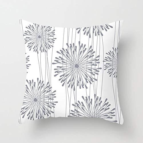 PPMP Funda de Almohada de Tiro Gris nórdico Funda de cojín geométrico Floral Retro para la decoración del sofá del hogar Funda de Almohada Funda de cojín A19 45x45cm 2pcs