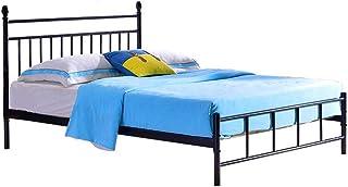 VBARV Marco de Cama Simple, Base de colchón con Plataforma de Metal/cabecera de reemplazo de somier, Marco de Cama de Hierro Forjado de 1,8 m y 1,5 m