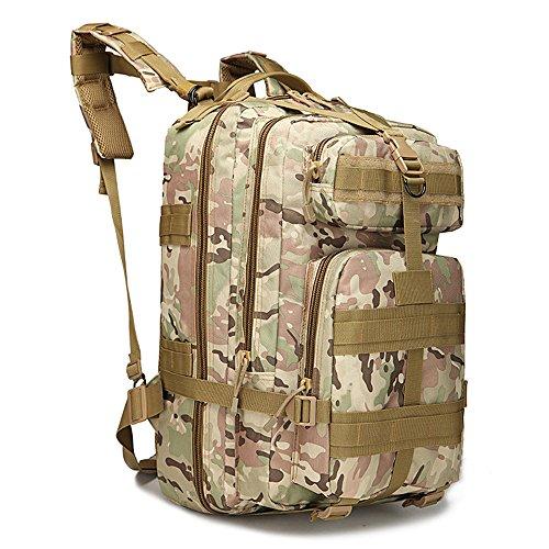 Tentock 40L Zaino Tattico Militare, per Attività All'aperto, Impermeabile Assault Pack con Sistema MOLLE(kaki mimetico)