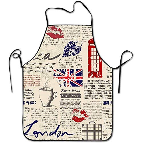 Myrdora Unisex British Newspaper Personalisierte lustige Henne BBQ Koch Chef Schürze