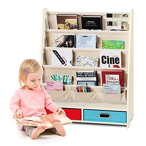 GOPLUS Libreria per Bambini con 2 Cassetti, Scaffale Porta Libri e Riviste, Libreria per Asilo e Cameretta, con Barre di Pino, 70,5 x 28,5 x 86 cm (Beige)
