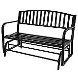 BELLEZE 50-Inch Outdoor Patio Glider Bench Rocker Swing Loveseat Seat Steel Frame, Black