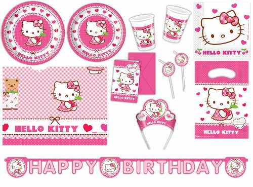 Procos 412275 Kinderpartyset Hello Kitty Hearts, Größe XXL