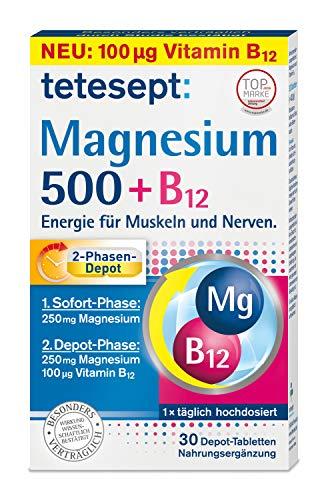 tetesept Magnesium 500 + B12 Depot - hochdosiert – Magnesium und Vitamin B12 Kombipräparat mit 2-Phasen-Depot - Energie für Muskeln und Nerven – 1 x 30 Tabletten [Nahrungsergänzungsmittel]