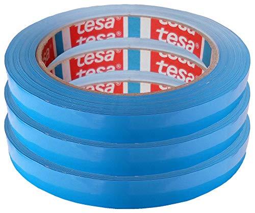 TESA Klebeband Markierungsband tesafilm 4204 PVC blau, 12mmx66m | Ideal für Tischabroller und Beutelverschlußmaschinen, 3 Rollen, Blau