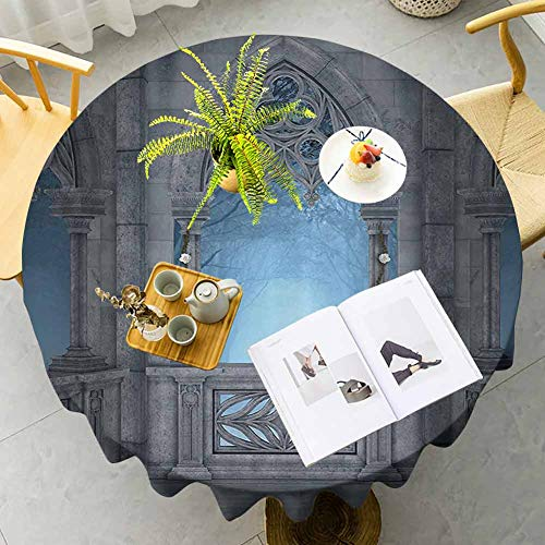 Mantel redondo impermeable de cuento de hadas Fantasy World Castle Arquitectura Detalles Terraza Gazebo Interior Bosque Niebla Decorado Cocina Gris Azul Claro Diámetro 51 Pulgadas