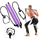 GLKEBY Pilates BaPilates Bar Kit, mit verstellbarem Widerstandsband tragbarer Pilates Exercise bar Stick für Dehnen, Yoga, Formen, Trainieren, Sit-Ups, Abnehmen