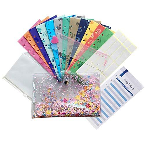 Enfudid Cash Envelope System 12 Plastic Cash Envelopes for Budgeting and Money Saving All-in-One Cash Envelop Wallet with Money Budget Envelopes Labels, Sticker Labels, and Ruler