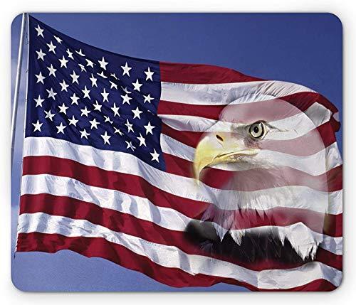 Amerikanisches Flaggen-Mauspad, Amerika-Flagge im Wind mit Eagle-Symbol-Doppelbelichtungs-Bürgerbild, Rechteck-Rechteck-rutschfestes Gummi-Mauspad, mehrfarbig