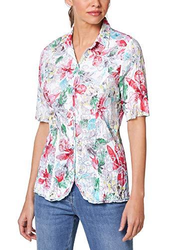 Walbusch Damen Bluse Aquarellblüten gemustert Multicolor 38 - Kurzarm