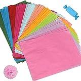 Seidenpapier 100 Blatt A4, 10 Farben Bastelpapier zum Kreieren von Pompoms, Papierblumen, Tischdeko, Dass in Geschenktüten Gestopft Wird