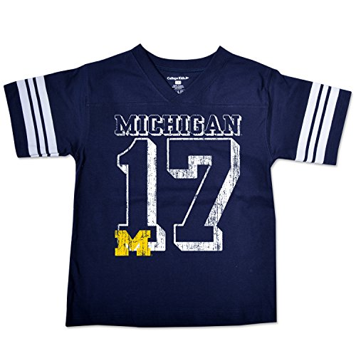 College Kids NCAA Michigan Wolverines Youth Football Tee, Size 14-16/Large, Navy