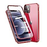 Jonwelsy Funda para iPhone 12 Mini (5,4'), Adsorción Magnética Parachoques Metal con 360 Grados Protección Case Cover Transparente Ambos Lados Vidrio Templado Cubierta para iPhone 12 Mini (Rojo)