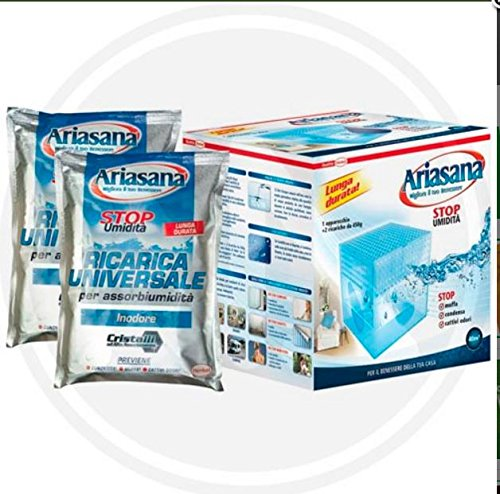 Ariasana, Ricarica universale per assorbiumidita, Confezione 6 scatole con 5 pezzi da 450gr