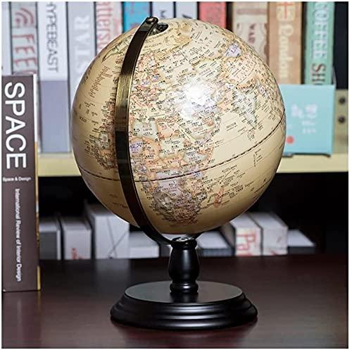 Globos Globos Globos terrestres Iluminado Globo terrestre Grande Globo político 3D Iluminado Topográfico 12 em relevo Globo terrestre com base de madeira preta RA e decoração de globo terrestre